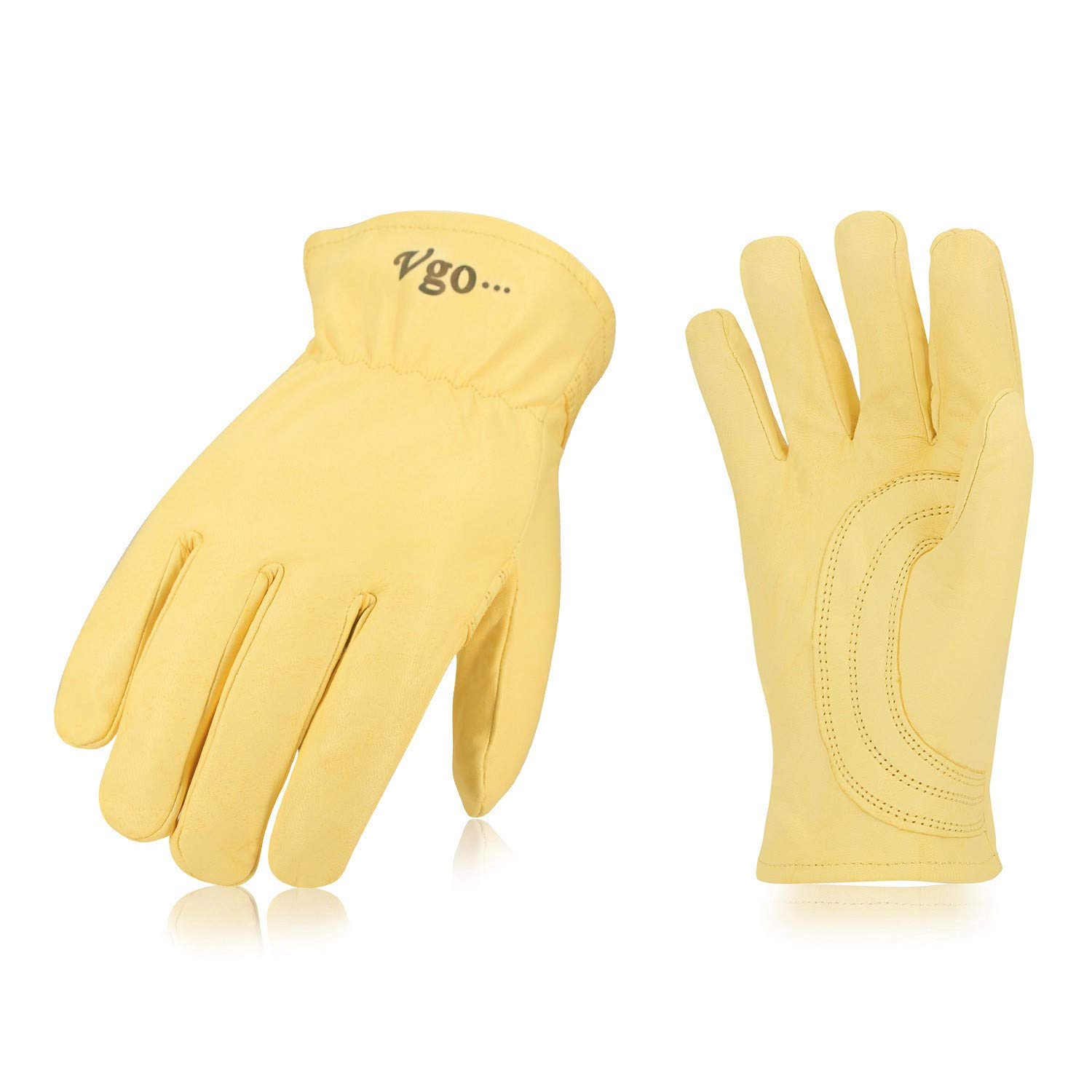 Vgo… Unlined Top Grain Goatskin Work and Driver Gloves with Palm Patch (2Pairs, Light Yellow, Size 9/L and 10/XL)