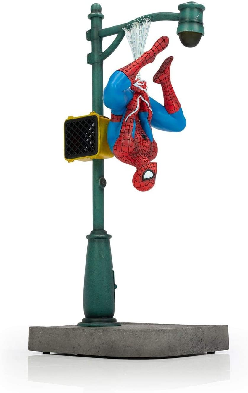 Marvel Spider-Man Collector Statue | Large Interactive Spider-Man Figure | Features Upside-Down Spider-Man |1:8th Scale Model |14 Inches Tall