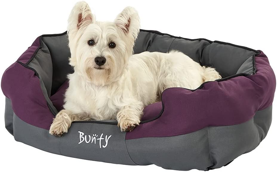 Bunty Anchor Dog Pet Bed, Soft Waterproof Machine Washable Hardwearing Basket Mat Cushion, Cosy, Cat, Small Animal, Purple, Large, Made in the United Kingdom