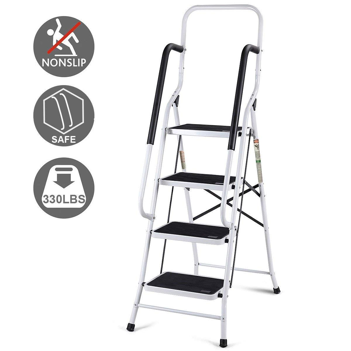 Giantex 2 in 1 Non-Slip Step Ladder Folding Stool w/Handrails and Tool Pouch Caddy (4 Step Ladder) by Giantex (Image #6)