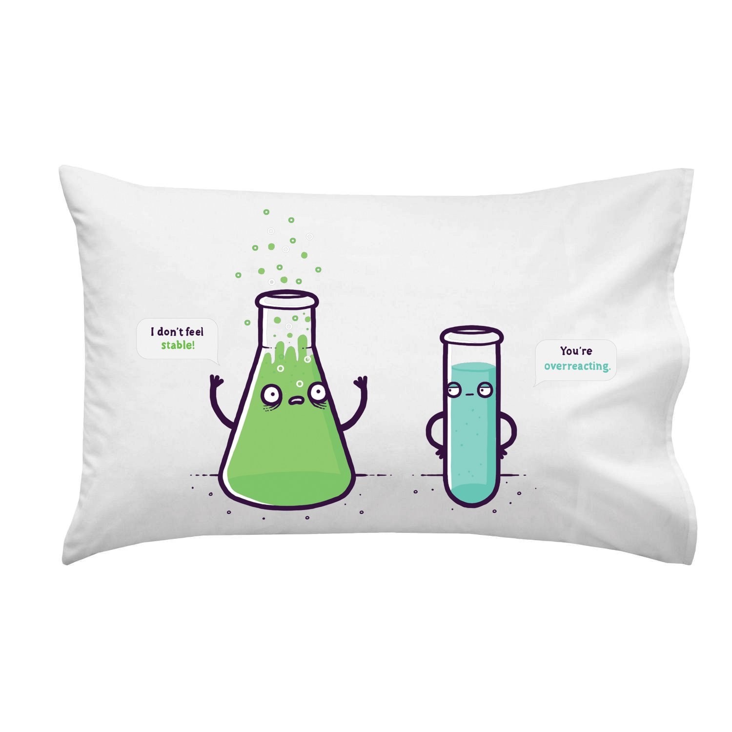 Hat Shark Overreacting Funny Chemistry Beaker Chemicals Don't Feel Stable - Pillow Case Single Pillowcase