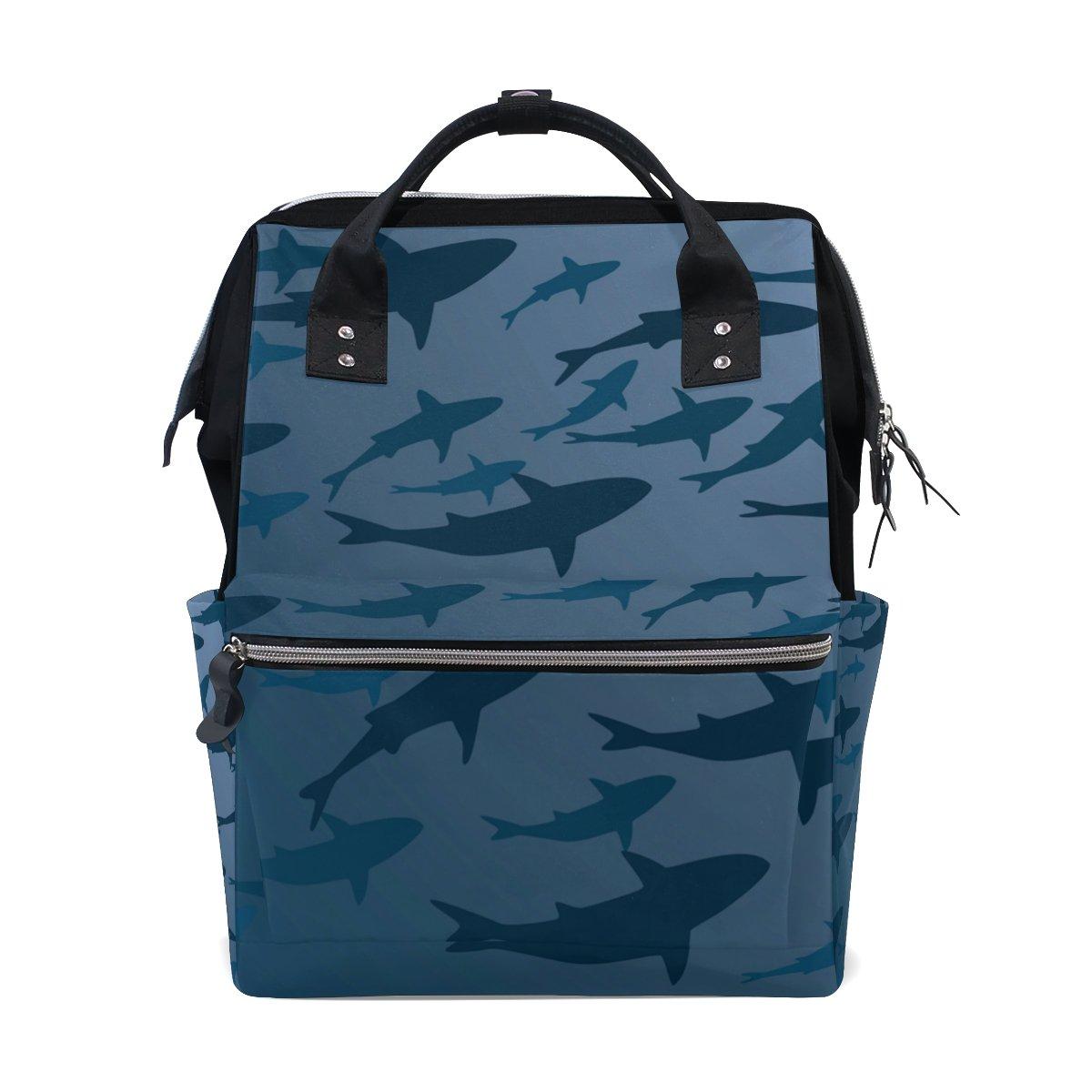 Bolsa de pañales para mamá, bolsa de pañales de gran capacidad, silueta de tiburón para bebé de abajo de la mochila de viaje multifunción: Amazon.es: Bebé