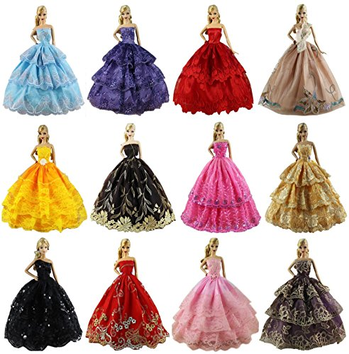 - ZITA ELEMENT Lot 6 PCS Fashion Handmade Clothes Dress for Barbie Doll Xmas Gift