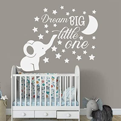 Aayuj Wall Sticker Elephant Nursery Wall Decal Baby Boy Room Decor Dream Big Little One Quote Wall Vinyl Stickers Moon and Stars Decals Kids Size: 52x42 cm: Kitchen & Dining
