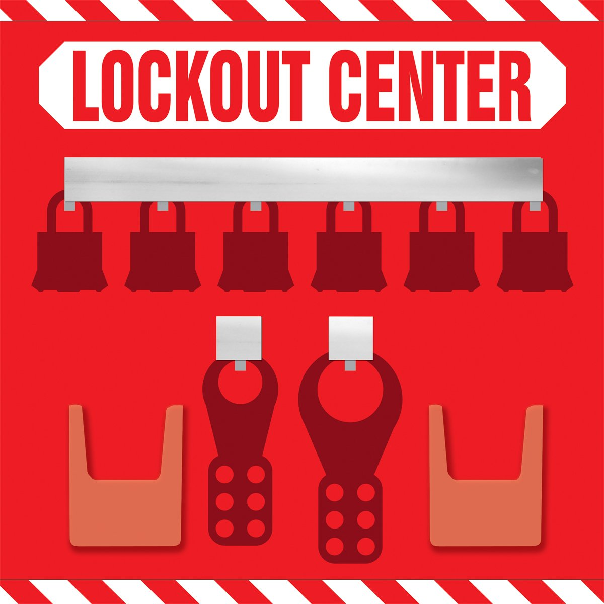 Accuform KST816 STOPOUT Lockout Store-Board, 6-Padlock, 14'' Length x 14'' Width, Aluminum, White on Red