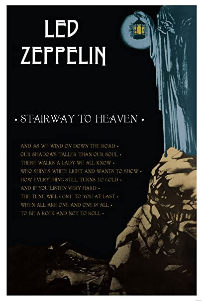 Amazon Com Black Wood Framed Print 24 X 36 Led Zeppelin Stairway