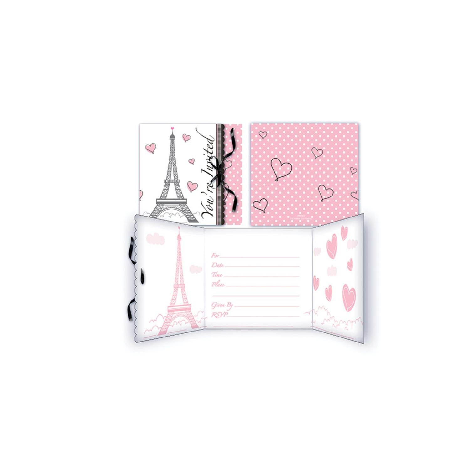 Pack of 48 Pink, White and Black Party in Paris Invitations Gatefold DC 7.2""