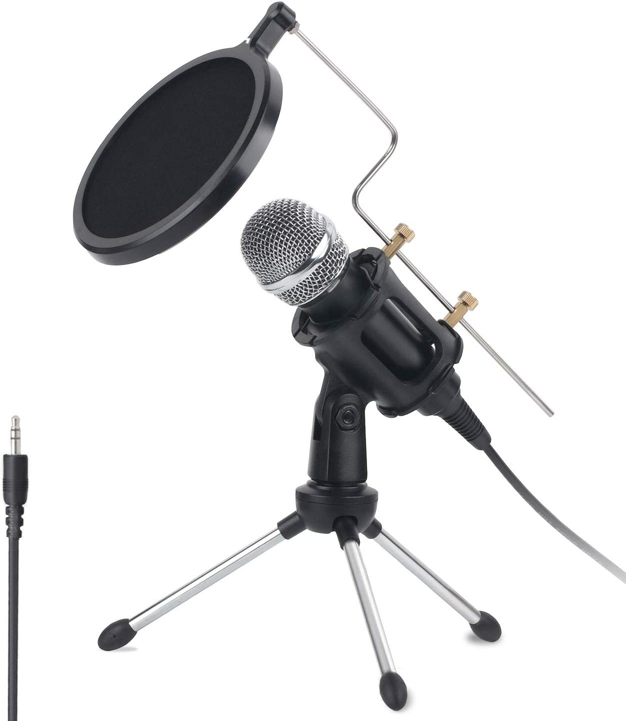 3.5mm PC Microphone Computer Studio Condenser Mic with Tripod Stand & Pop Filter for YouTube Skype Gaming Singing, Streaming, Podcasting, Vocal Recording, for Phones Mac PC Laptop Desktop Windows