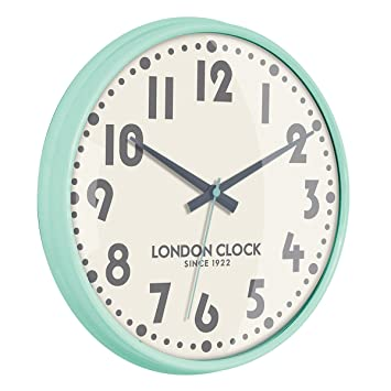 London Clock 1922 Retro Collection Dylan Mint Green Wall