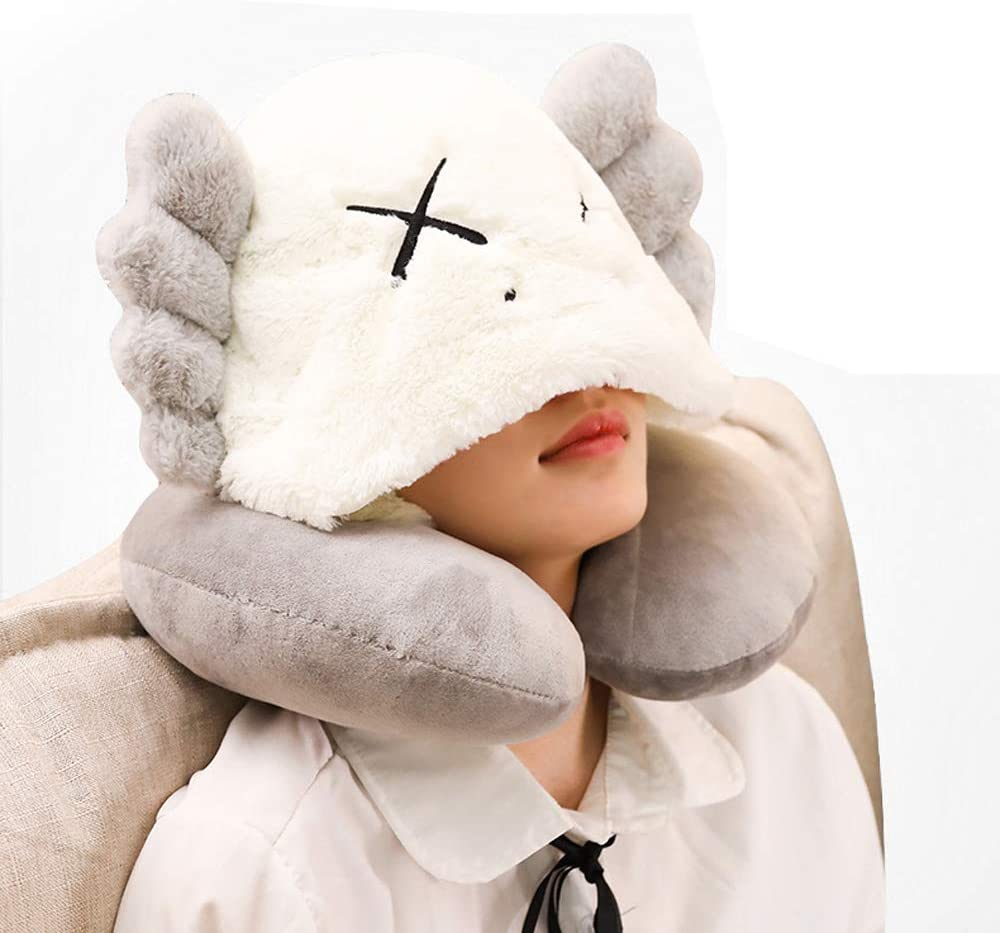 JUZIPI Travel Pillow with Winter Hat Neck Head Support Air Traveling Pillows Winter Hats for Women for Sleeping Rest, Airplane, Car, Home Use