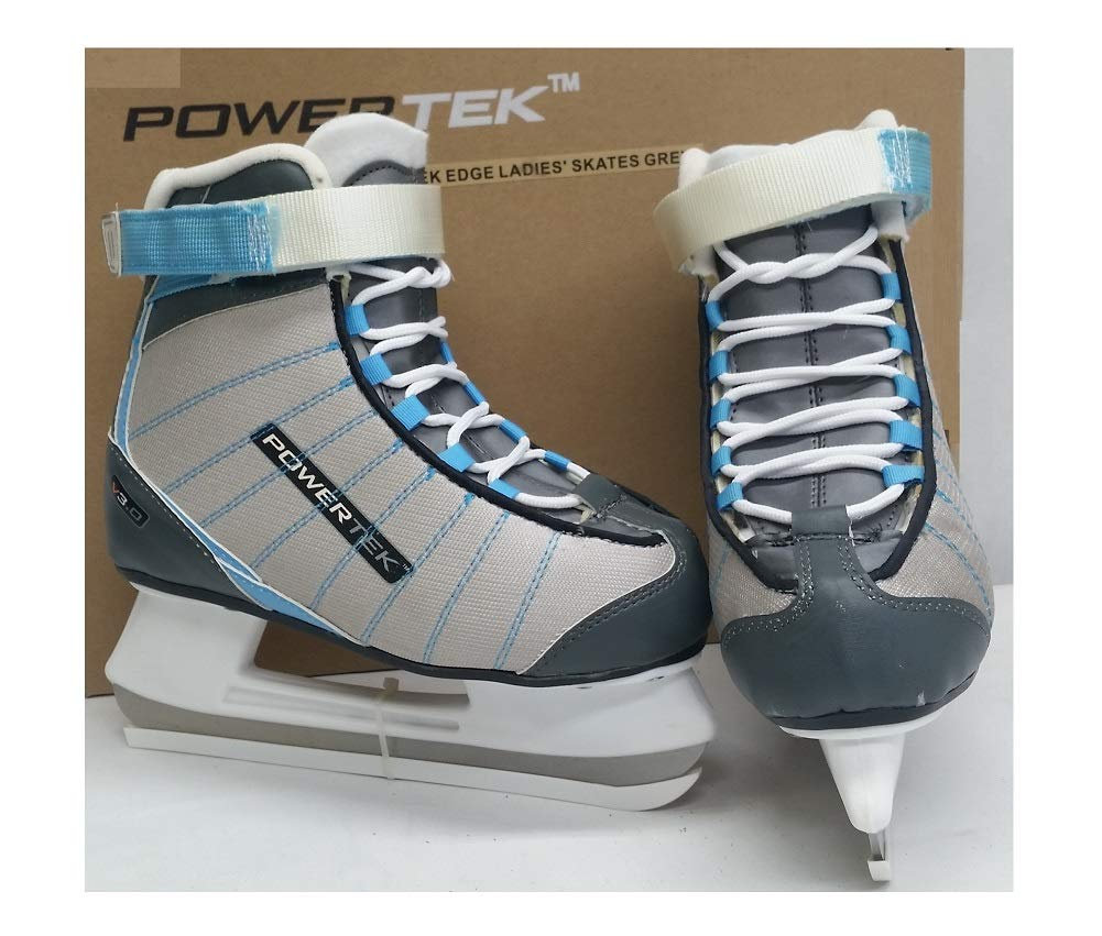 PowerTek V3.0 Tek Edge Ladies' Figure Ice Skates Grey/Sky SR 7