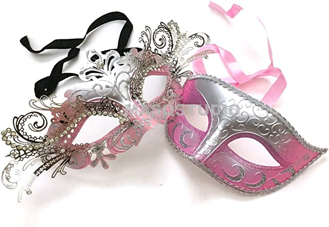 Black Gold Masquerade Party Jester Mask Couple Graduation Birthday Halloween