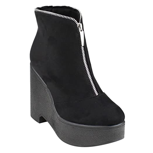 EJ30 Women's Zipper Platform Wedge Ankle Booties One And Half Size Small