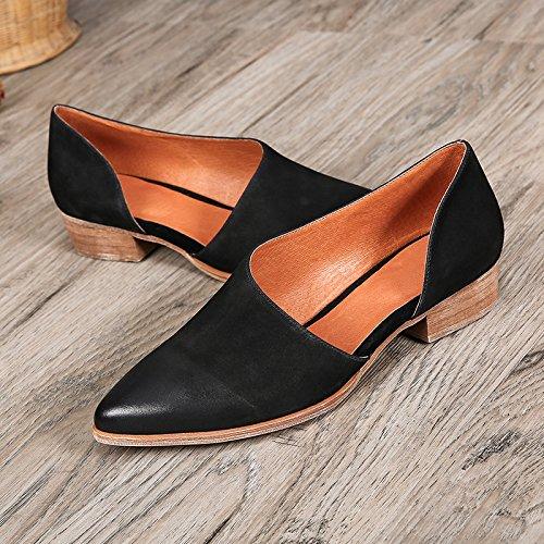 KHSKX-Negro 2.5Cm Señaló Zapatos De Tacon Bajo Primavera De Zapatos Y Sandalias Cuero Lado Afilado Treinta Y Ocho Thirty-seven