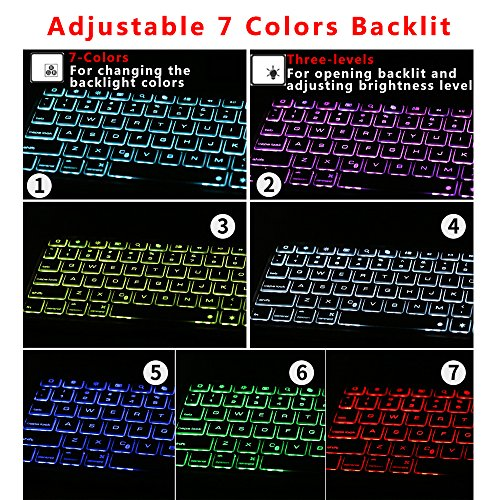 Ipad Pro 9.7 Keyboard Case, NOVT Aluminum Alloy Ultra Thin Smart Bluetooth Wireless Keyboard 7 Color Led Backlit with Protective Case Cover Stand Auto Sleep/Wake for Apple iPad Pro 9.7 Inch (Gold) by NOVT (Image #4)'