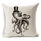 HomeChoice Cotton Linen Sea Cretures Octopus In Black And White Durable Home Square Decorative Throw Pillow Cover Accent Cushion Cover Pillow Shell Bed Pillow Case 18 By 18 Inches (18'X18')
