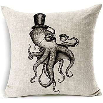 HomeChoice Cotton Linen Sea Cretures Octopus In Black And White Durable Home  Square Decorative Throw Pillow Cover Accent Cushion Cover Pillow Shell Bed  ...