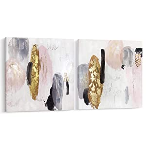 Pi Art Framed Contemporary Abstract Shinning Gold and Pink Trendy Canvas Print Wall Art with Gold Foil Wall Decor Picture for Living Room and Bedroom (24x24, Set)