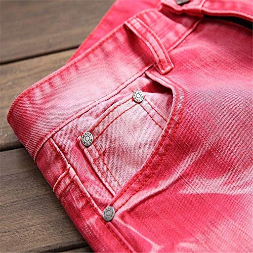 colore Yiwuhu Distrutti Da Strappati Skinny Jeans Dimensione Uomo Moda 29 Rosso Rosso Fit Slim Alla TSTwvqC