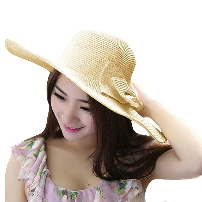 bee417c9 Meliya Ladies Straw Sun Hat Floppy Summer Beach Hat Foldable Wide Brim Sun  Visor with Big Bowknot(Beige): Amazon.co.uk: Clothing