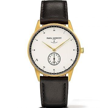 Paul Hewitt Reloj analogico para Unisex de Cuarzo con Correa en Piel PH-M1-G-W-2M: Amazon.es: Relojes