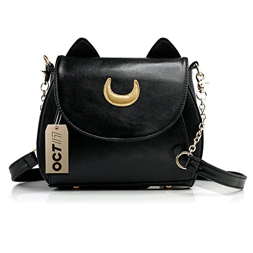 Oct17 Moon Luna Design Purse Kitty Cat satchel shoulder bag Designer Women  Handbag Tote PU Leather
