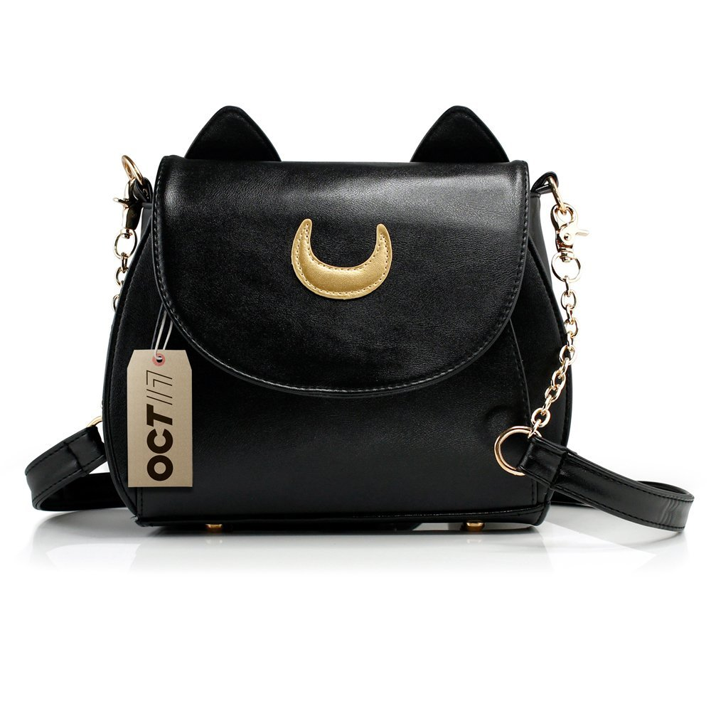 Oct17 Moon Luna Design Purse Kitty Cat satchel shoulder bag Designer Women Handbag Tote PU Leather Girls Teens School Sailer Style (Black)