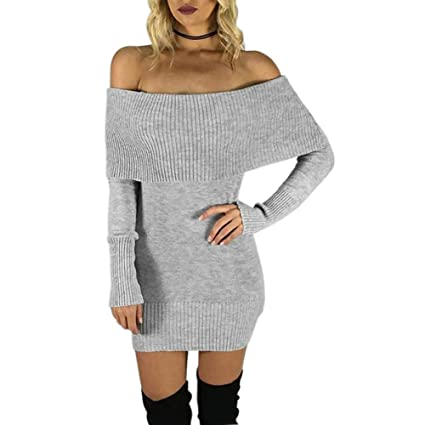 395fcbac05 Diamondo Sexy Women Autumn Winter Knit BodyCon Slim Party Sweater Mini  Dress (Gray)