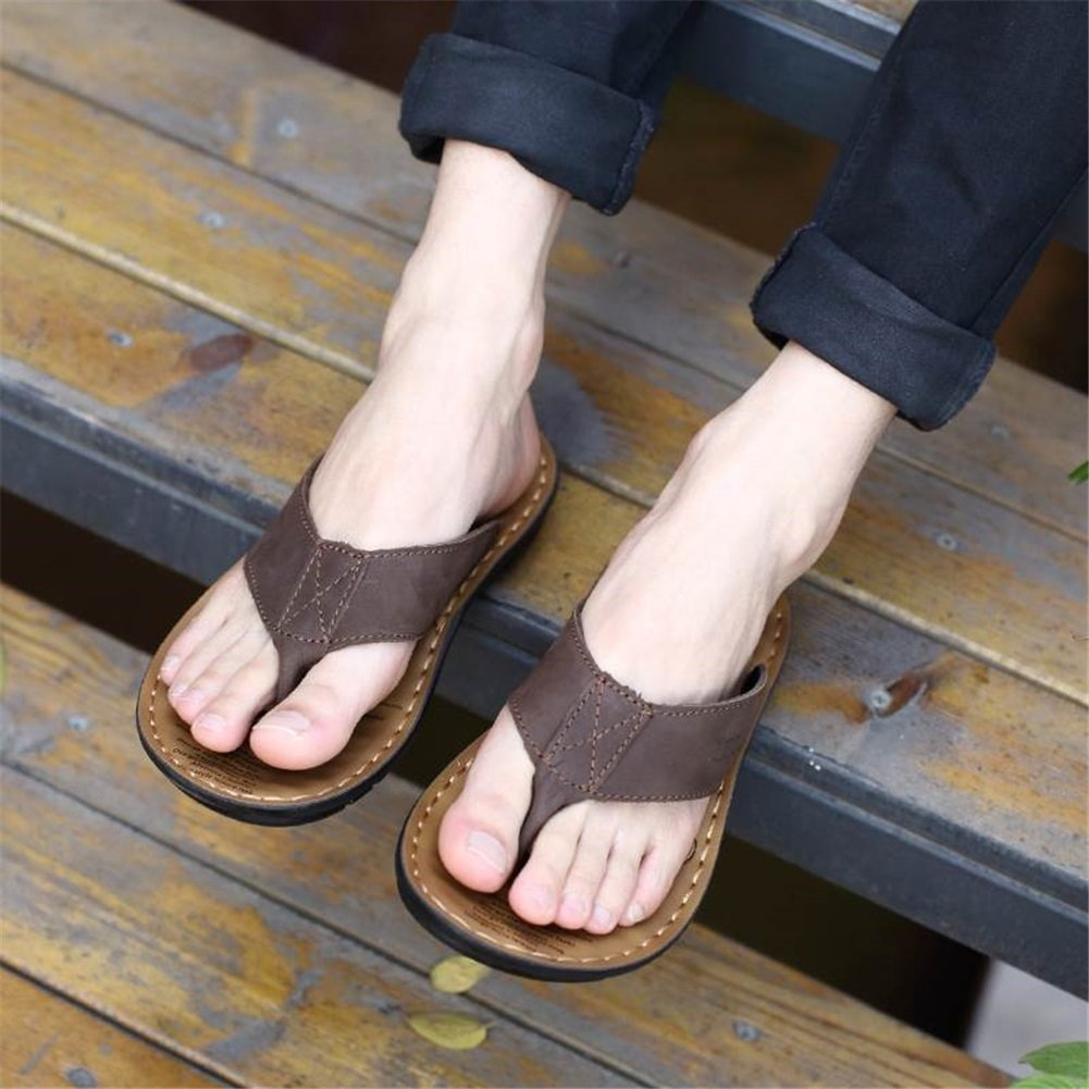 HUAN Men's Shoes Cowhide Summer Fall Formal & Shoes Slippers & Formal Flip-Flops for Casual Outdoor Black Khaki Brown 41 C B07BLS5JLL dd7d29