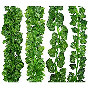 Susan1999 2M Long Artificial Plants Green Ivy Leaves Artificial Grape Vine Fake Parthenocissus Foliage Leaves Home Decoration 97