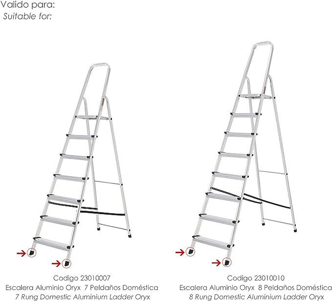 ORYX 23010060 Contera Escaleras Aluminio Delantera de 7 y 8 Peldaños, Negro: Amazon.es: Bricolaje y herramientas