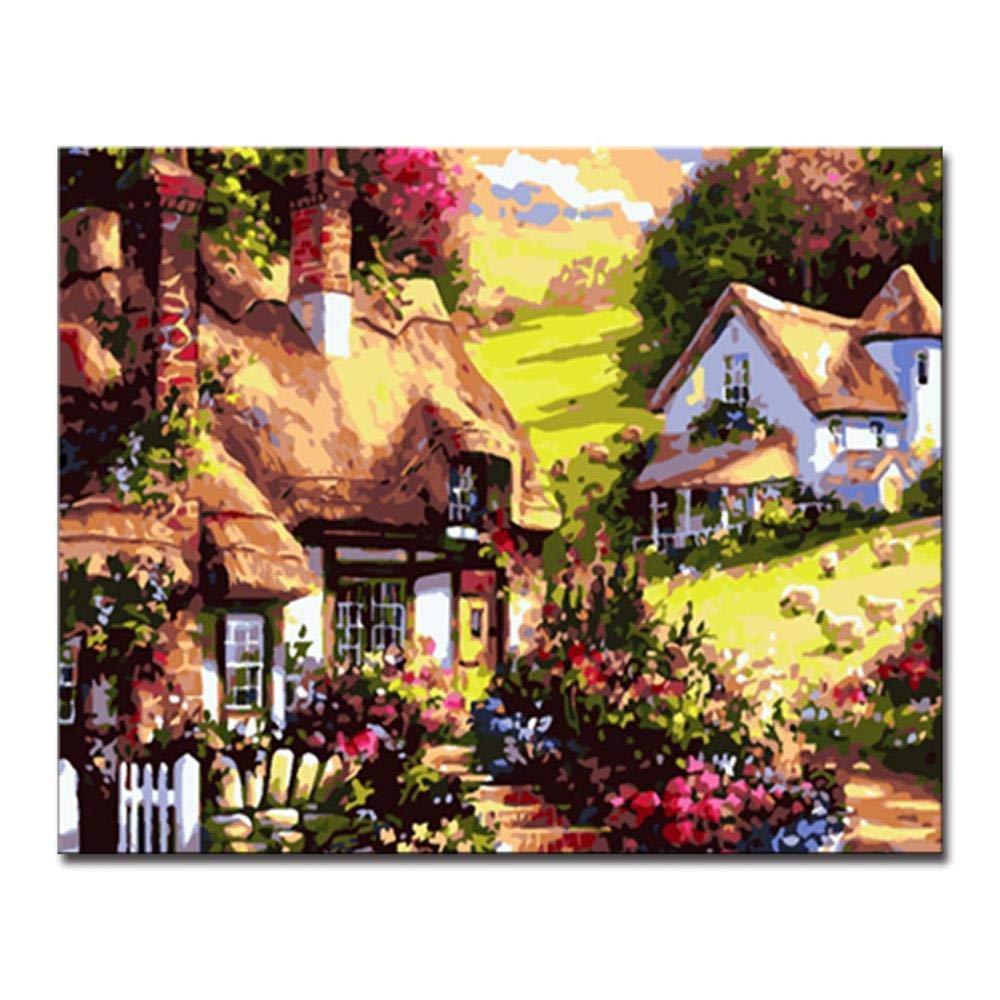 Dysdiy Bricolaje Pintura al óleo, Pintura por números Kits para Adultos Niños Pintura por número Kits Decoración para el hogar,Villas Pequeñas 16*20 Pulgadas