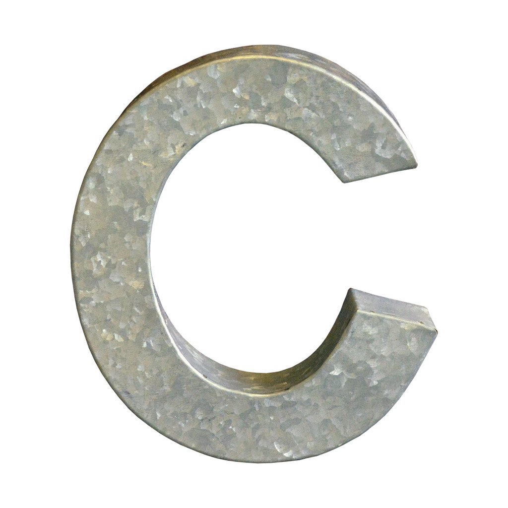 Modelli Creations Alphabet Letter C Wall Decor, Zinc