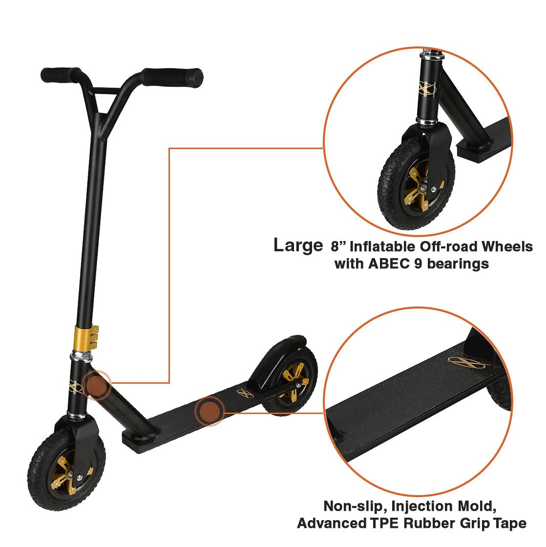 Xspec Aluminum Pro Stunt Dirt Kick Scooter Offroad Tires All Terrain Mountain, Matte Black & Gold, Oversized BMX Handlebars with 3-Bolt Clamp, Freestyle Fun Kids Outdoor Sports by Xspec