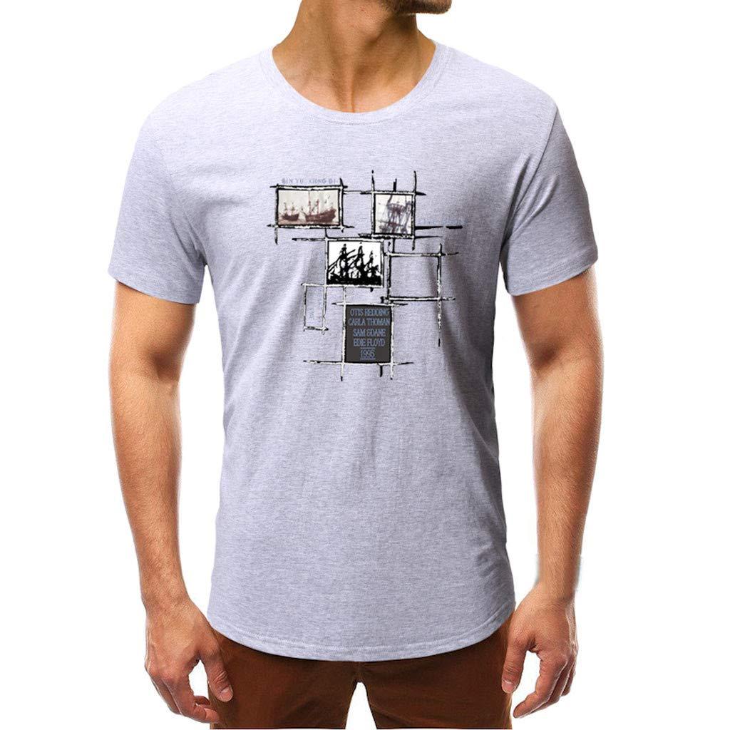 kanyankeji Summer Hawaiian Men's Short Sleevee Tops T-Shirts Blouse for Men Gray