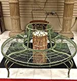 Tree Bench/plant Stand – Wrought Iron – Antique Mint Green Finish