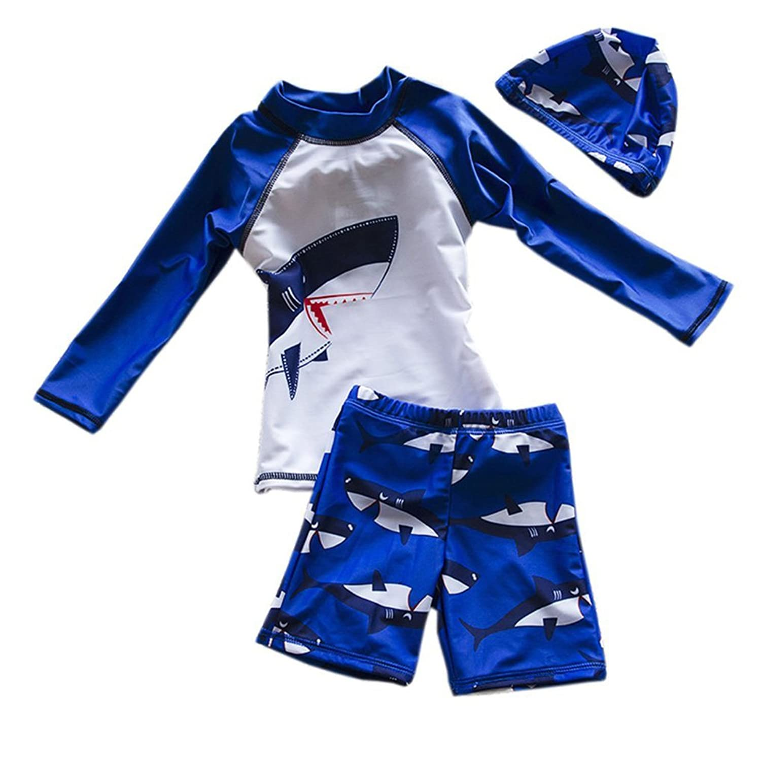 d59dc1d71a Perfect Fit: 5 size for 2-3/4-5/6-7/7-8/8-9 years old boy. ☆ Super Cute:  Shark Printed,Boy rash guard swimwear with cool shark pattern for a  flattering ...