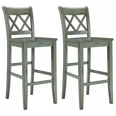 Ashley Furniture Signature Design - Mestler Bar Stool - Pub Height - Vintage Casual Style - Set of 2 - Blue / Green