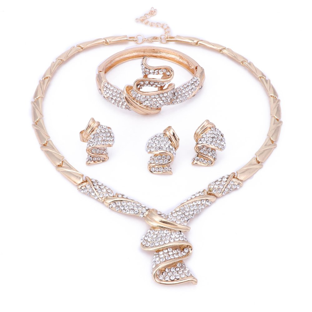 OUHE 18K Wedding Jewelry Sets for Brides, Gold Jewelry Sets for Women - Gold Plated Crystal Necklace Earrings Ring Bracelet