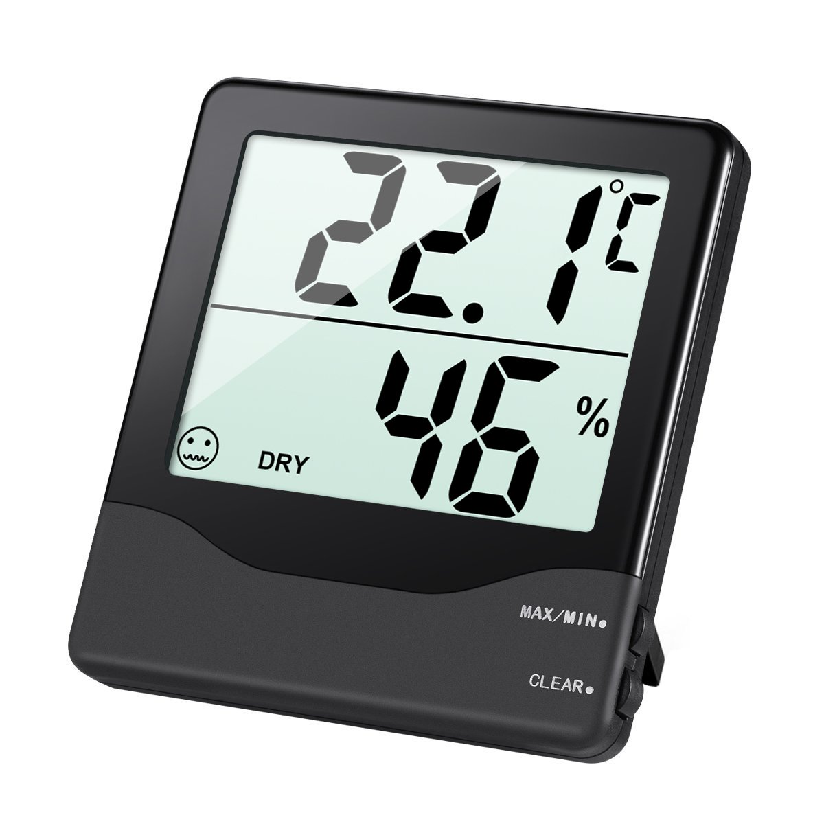 AMIR Indoor Hygrometer Thermometer, Digital Temperature and Humidity Monitor with LCD Screen, MIN/MAX Records, °C/°F switch, Comfort Indicators Multifunctional for Home, Office, Baby Room, etc °C/°F switch Weather Station