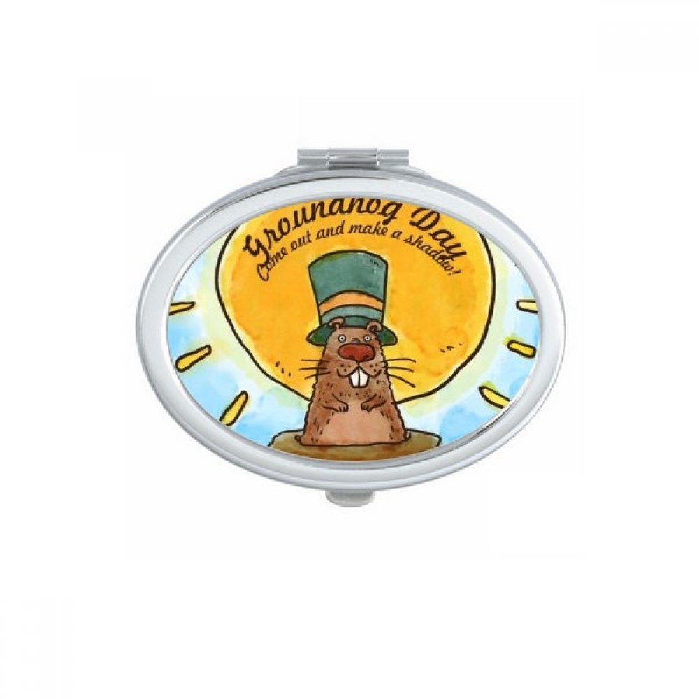 Groundhog Day USA America Canada Festival Oval Compact Makeup Pocket Mirror Portable Cute Small Hand Mirrors Gift