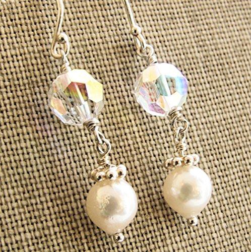 Pearl Swarovski Crystal Earrings White Akoya Saltwater Cultured Sterling Silver Dangle - 7mm White Crystal Pearl Earrings