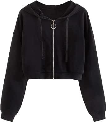 Mulimia Women's Casual Zip Up Long Sleeve Crop Hooded Jacket Outwear