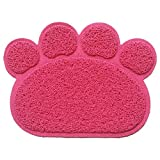 Peekab Cat Litter Mat - Paw Shape Pet Food Water Bowl Feeding Placemat - Non-slip Easy To Clean (Rosy)