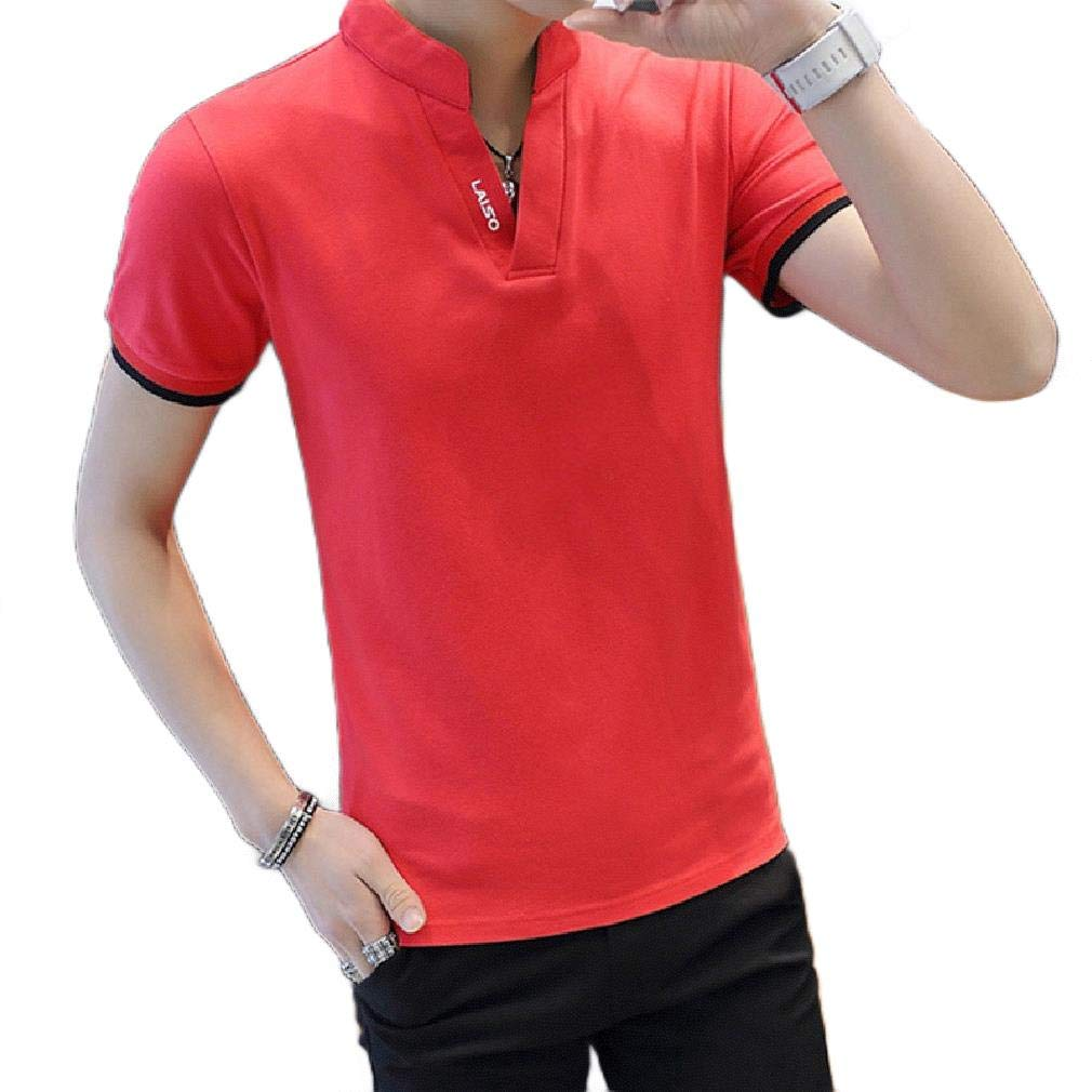 Zimaes-Men Fit Pure Color Short-Sleeve Turn Down Collar Pique Polo Shirt