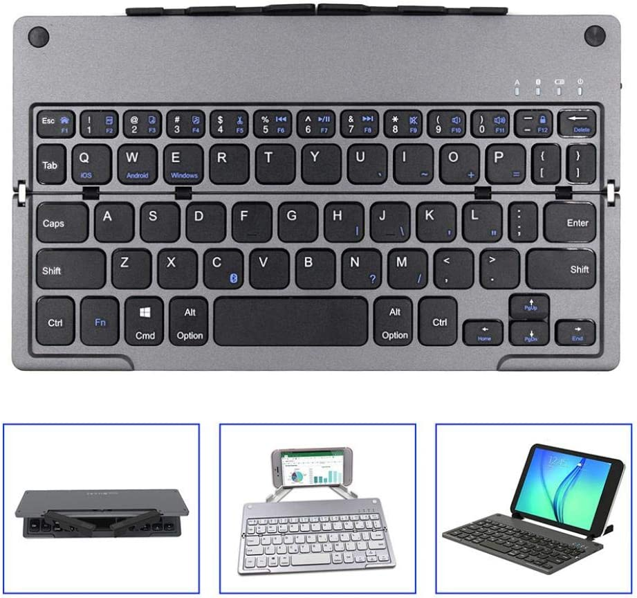 Silver scgtpapadc Wireless Folding Bluetooth Keyboard for Phone Tablet Laptop Computer