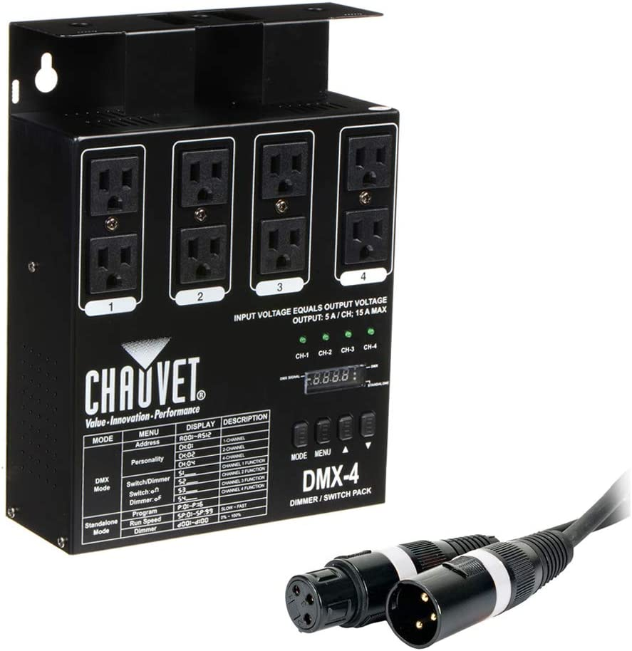 CHAUVET DJ DMX-4LED 4-Channel Dimmer Pack with American DJ Accu-cable 3-pin DMX Cable (50') Bundle