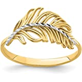 14k Yellow Gold White Feather Band Ring Size 7.00 Fine Jewelry For Women Gifts For Her