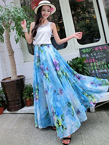 Watery Trapze Blue Femme Jupe Medeshe Floral t1wpqzqx