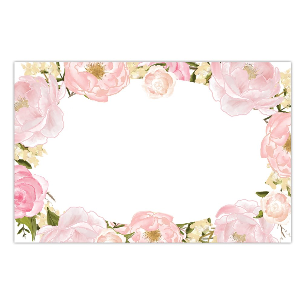DB Party Studio Paper Placemats Pack of 25 Easy Cleanup Disposable Place Mats Gorgeous Pink Floral Blooms Border For Bridal Shower Wedding Reception Woman's Birthday Dining Table Setting 17